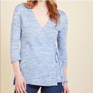 ModCloth Welcoming Wednesday Wrap Top Blue 2x